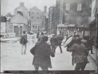 Bogside residents defending their barricades against police and loyalist assault